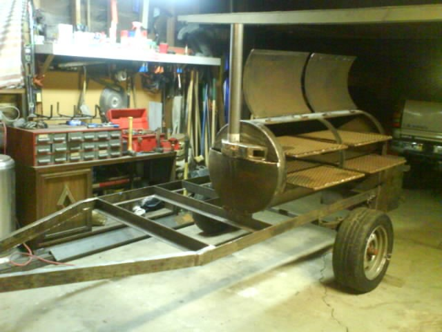 custom built BBQ trailer smoker