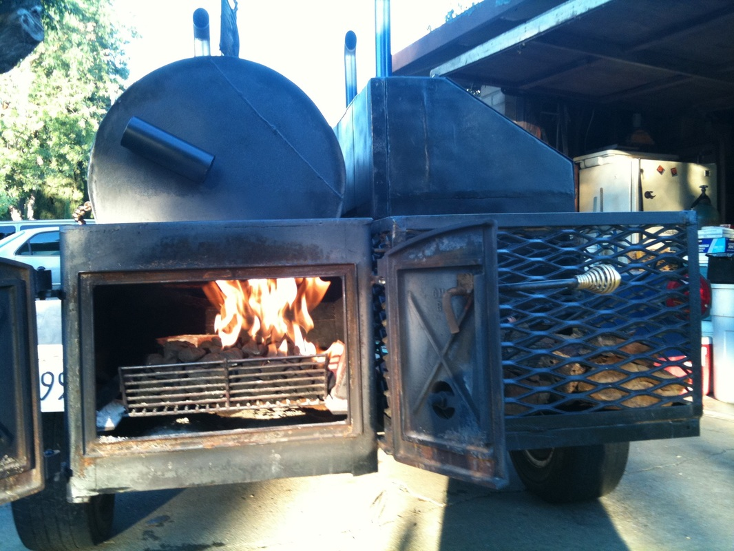 wood fired BBQ trailer smoker