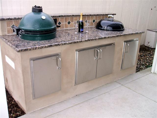 custom BBQ island for Big Green Egg and Weber Kettle with granite countertop