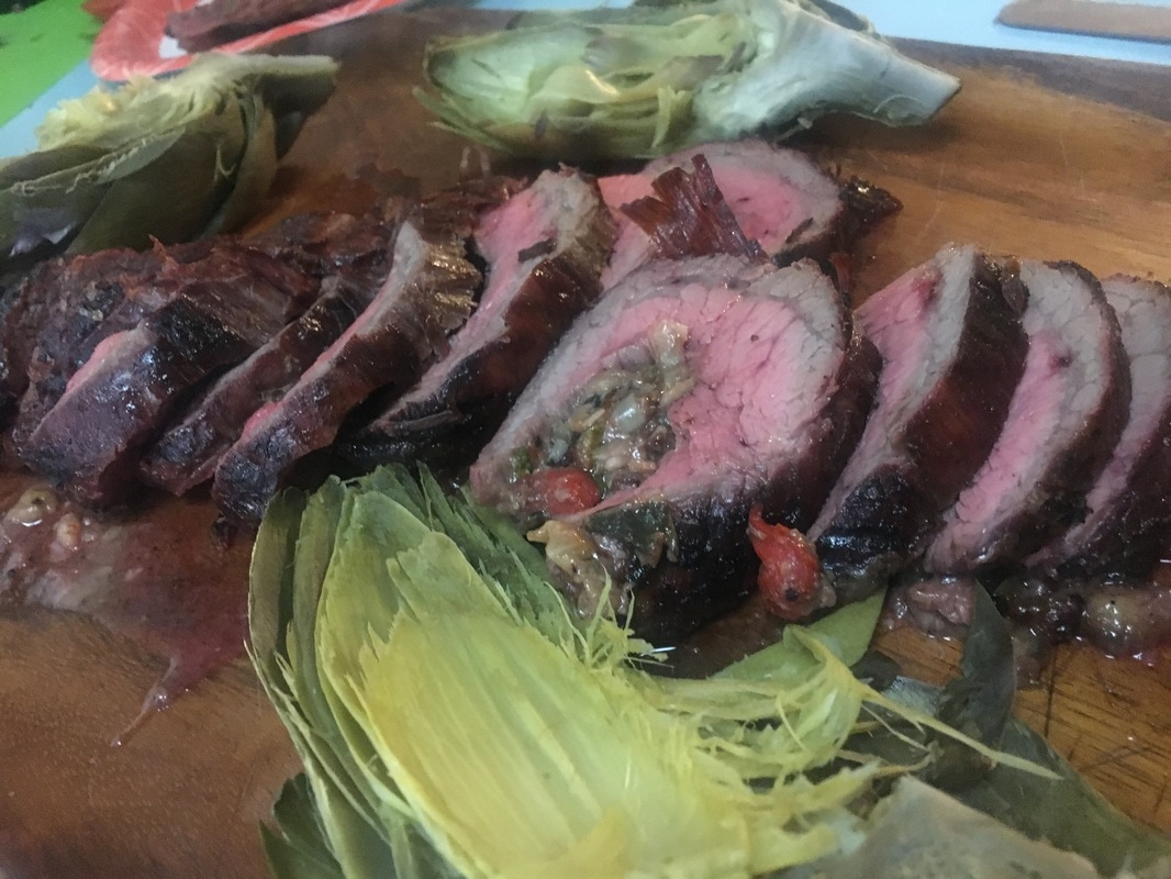 BBQ grilled rolled stuffed flank steak recipe